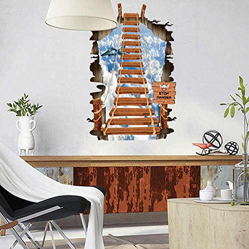 toon 3D Sky Ladder Personality DIY Wall Decal for Kid's Bedroom Decortion Size 42*27 by ASENART ()