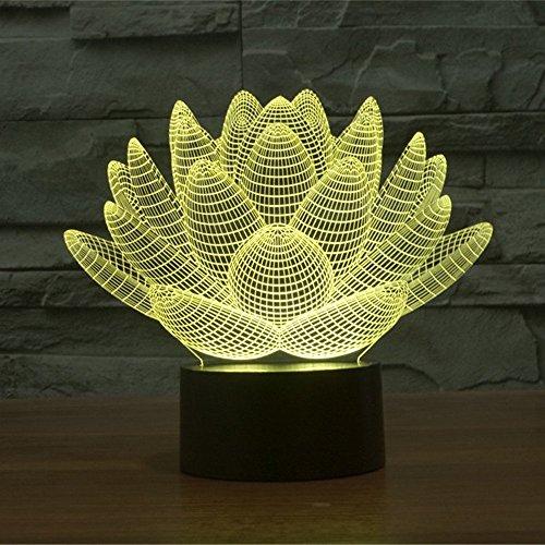 Lampe 3D ILLUSION Lichter der Nacht, kingcoo 7Farben LED Acryl Licht 3D Creative Berührungsschalter Stereo Visual Atmosphäre Schreibtischlampe Tisch-, Geschenk für Weihnachten, Kunststoff, Lotus 0.50 wattsW - 6
