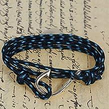 Pulsera anzuelo dorado con cuerda de poliéster color negro azul