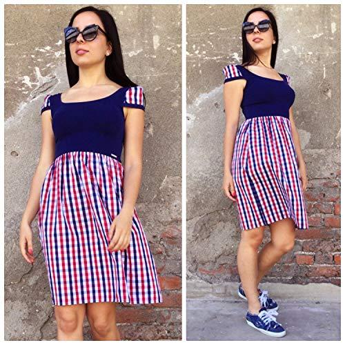 Womens Plaid Dress, kurzärmeliges Kleid, hoch taillierte Kleid, lässige Sommerkleid, Womens Fancy Dress, Fit Flare Kleid, Shirt ()