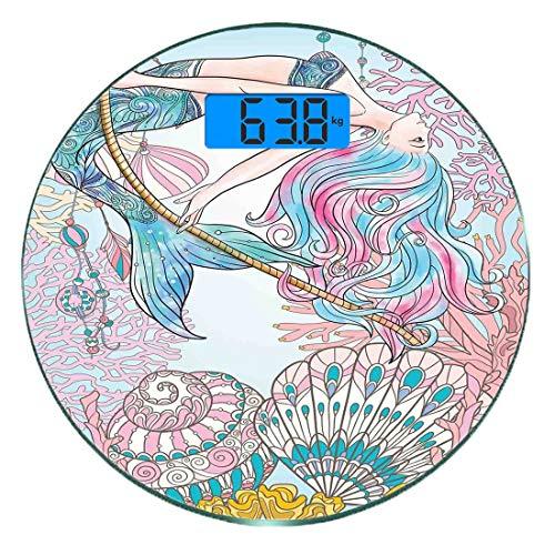 Digitale Präzisionswaage für das Körpergewicht Runde Meerjungfrau Ultra dünne ausgeglichenes Glas-Badezimmerwaage-genaue Gewichts-Maße,Cartoon Meerjungfrau im Meer Sirenen des griechischen Mythos weib -