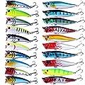 HENGJIA 20pcs Mixed Fishing Lures Set Kit Topwater Popper Hard Bait Floating Big Mouth Minnow Crankbait 7.2/11.7g from HENGJIA