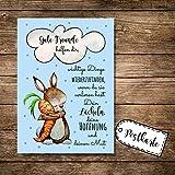 ilka parey wandtattoo-welt® Postkarte Grußkarte Karte Print Illustration Hase und Möhre mit Spruch gute Freunde helfen dir… pk88