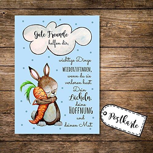 ilka parey wandtattoo-welt® Postkarte Grußkarte Karte Print Illustration Hase und Möhre mit Spruch Gute Freunde helfen dir... pk88