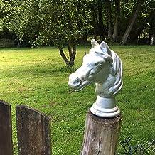 Skulptur Pferdekopf eindrucksvoll Mauerkrone Pferd Rostoptik Lebensgröße
