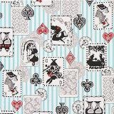 Blauer grauweißer Streifen Alice Motive Märchen