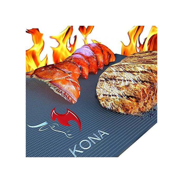 Kona Beste Bbq Grillmatte 600 Grad Matten Mit Antihaftbeschichtung Schwere Qualitt 2 Stck 7 Jahre Garantie