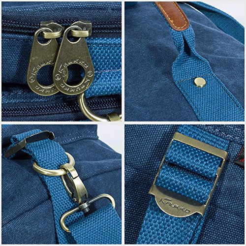KAUKKO Multi-Function Vintage Canvas Zaino escursionismo viaggio Zaini militari Messenger Bag (Grigio [2PCS]) Blu