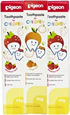Pigeon Children Tripack Toothpaste Strawberry (45g, Pack of 2) & Orange (45g, Pack of 1)