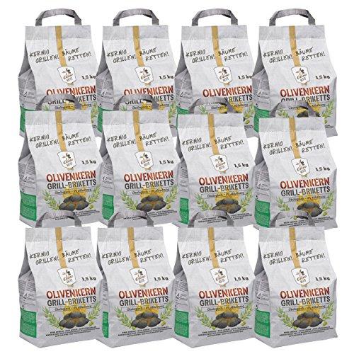 Olivo Ketts Grillbriketts aus Olivenkernen, 18 kg Ohne Rauch Kein Holz ✓ Keine Funken ✓ Lange Brenndauer | 100% Recycelte Grillkohle-Briketts für jeden Grill Umweltfreundliche & rauchfreie Kohle