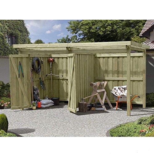 Gartenpirat Gerätehaus Holz mit Flachdach Typ-2 Gartenhaus mit Unterstand 387 x 224 cm