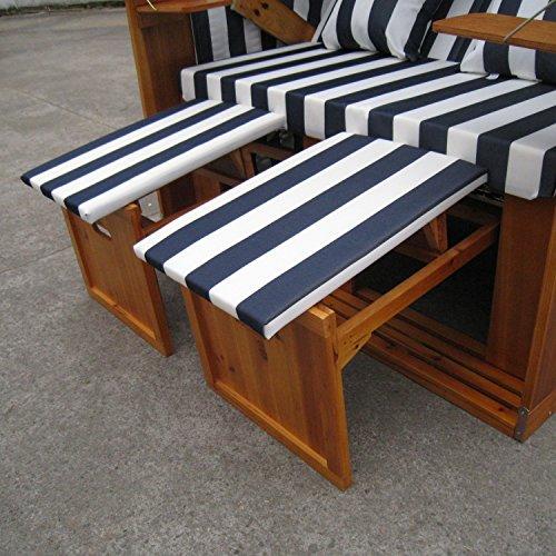 Zweisitzer Strandkorb mit klappbarer Rückenlehne für 2 Personen 118 x 80 x 160 cm (Blau / Weiss) - 8