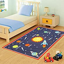 FunkyBuys® Kids planetas Galaxy diseño moderno alfombra alfombra de juegos infantil alfombra antideslizante–3tamaños mejor precio, 100% poliamida, 100cm x 133cm