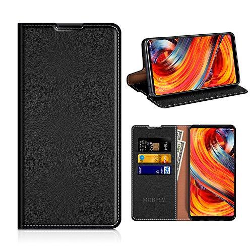MOBESV Xiaomi Mi Mix 2 Hülle Leder, Xiaomi Mi Mix 2 Tasche Lederhülle/Wallet Case/Ledertasche Handyhülle/Schutzhülle mit Kartenfach für Xiaomi Mi Mix 2 - Schwarz