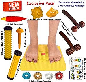 Super India Store Acupressure Mat With Magnets Pyramids + Health Products + 2 Wooden Face Massagers
