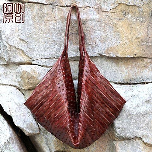 Sac en cuir en cuir de mode Joker grande diagonale sac épaule unique de loisirs mobile Wine Red