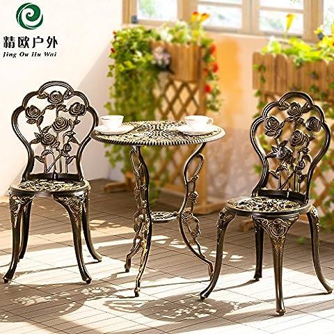 Balcon extérieur en trois pièces de fonte d'aluminium tables et chaises en fer forgé jardin table basse table et chaise combinaison,Ensemble de 3 blanc élégant