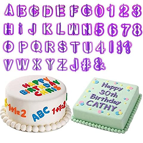 Tesan Fondant Cutters Letter Alphabet Number Cutters 40tlg Set with Ejector/Stamp with Letters, Numbers, Symbols. Cake Fondant Biscuit/Cake Tin Cake Decoration Kit, Jelly, Cake Toppers, Dessert
