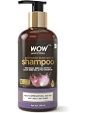 WOW Skin Science Red Onion Black Seed Oil Shampoo with Red Onion Seed Oil Extract, Black Seed Oil & Pro-Vitamin B5 - No Parabens, Sulphates, Silicones, Color & PEG - 300mL