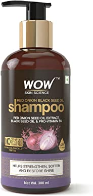 WOW Skin Science Red Onion Black Seed Oil Shampoo with Red Onion Seed Oil Extract, Black Seed Oil & Pro-Vitamin B5 - No Parab