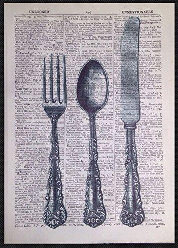 Vintage Besteck Messer Gabel Wörterbuch Seite Print Bild Küche Shabby Chic Art