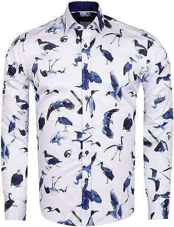 MAKROM MEN/'S REGULAR FIT BIRD PRINT LONG SLEEVE SHIRT SL 6575 WHITE