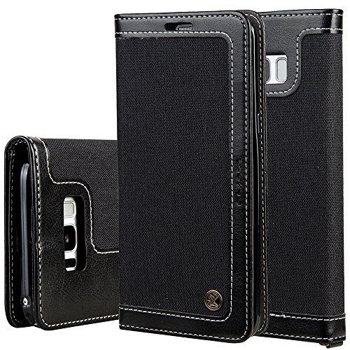Flip Cover Tasche Handytasche Handyhülle Samsung Galaxy S8 Handyschale Klapptasche Magnetverschluss Wallet, Schwarz