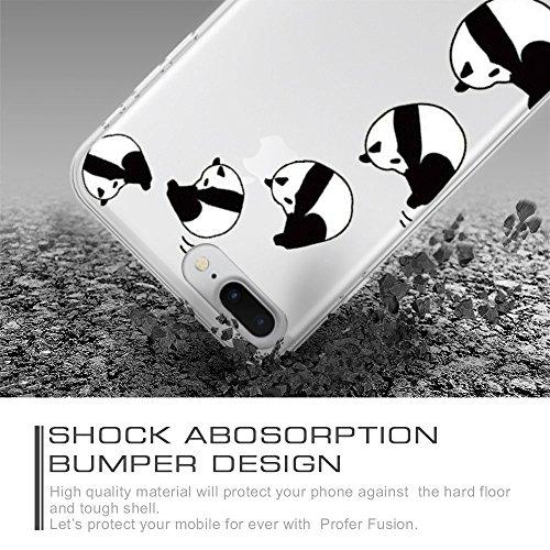 iPhone 7 Plus Hülle, Qissy®Cute panda series Transparent Weiche Silikon Schutzhülle mit Niedlich Muster für Apple iPhone 7 plus 10