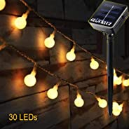 Warm White Solar Power String Lights, Outdoor Waterproof Globe Ball Light 30 LED Fairy Lights Christmas Decorative Light for