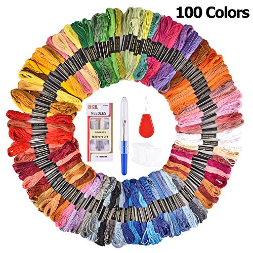 BASEIN Embroidery Hoop Set and 100 Color Threads (Multiple Colors, 100 Threads)