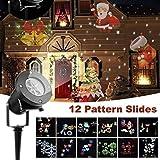 Projecteur LED Mouvement Flocon de Neige Lumineux, Lumiere Decoration de Projecteur Pere Noel Exterieur, Projecteur Halloween avec objectif remplaçable 12