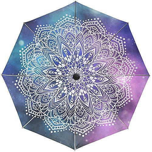 Merle House Ornament Mandala Galaxy Persian Boho Paraguas automático a Prueba de Viento Compacto; Mehndi Boho Travel Sun Rain Paraguas para Exteriores