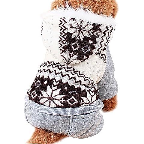 Invierno Ropa Para Perros Mascota Gato Sudaderas de Algodón Caliente (XXL, Marrón)