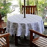 Do4U wasserdichte Tischdecke Innen- / Outdoor Tischdecke mit Sonnenschirm Loch Reißverschluss und Regenschirm Loch (60 '' rund, grau)