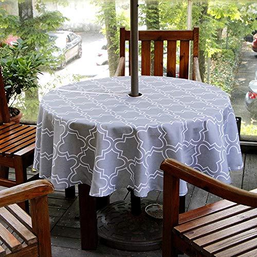 schdecke Innen- / Outdoor Tischdecke mit Sonnenschirm Loch Reißverschluss und Regenschirm Loch (60 '' rund, grau) ()
