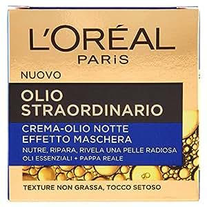 L'Oréal Paris Olio Straordinario Crema Viso-Olio Nutriente Notte, Effetto Maschera, 50 ml