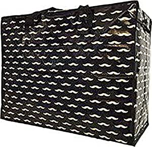 DK Bags Jumbo XL Sac pour lessive, nettoyage, déménagement, vêtements, couettes, excès de bagage Noir Motif: moustaches Taille: XL/74cm