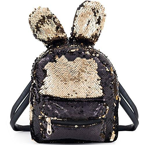 Meerjungfrau Pailetten Tasche mit Haseohren Rucksack mit DIY Glitzernde Umkehrbare Paillette Rucksäcke Schulranzen Tagesrucksack für Kinder Mädchen Damen LONGBLE (schwarz)