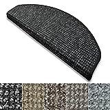 casa pura Stufenmatten Carlton | Flachgewebe dezent gemustert | Treppenteppich in zwei Formen | mit Teppich Läufer kombinierbar (Anthrazit - halbrund - 15 Stück)