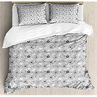 LnimioAOX Floral Bettbezug Set Künstlerische Muster mit handgezeichneten Stil abstrakte Gliederung Poppy Petals, dekorative 3-teilige Bettwäsche Set mit 2 Pillow Shams, Anthrazit und Weiß König