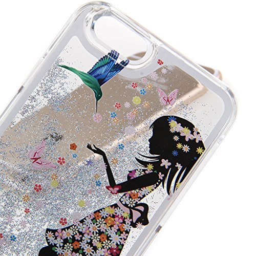 iPhone 5S Hülle,iPhone 5S Case [Scratch-Resistant],iPhone 5S Hülle, ISAKEN iPhone 5S Ultra Slim Perfect Fit Kreativ Design Liquid Fließen Flüssig Schwimmend Love Herz der Liebe Bling Luxus Shiny Glanz Fee Fairy #9
