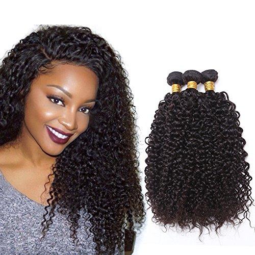 NEWFB 7A Cheveux Brésilien de Qualité 3 Paquets de Cheveux Vierges Bouclés et Mûrs Brutes Brutes Brésiliennes Sexy Tissus Bouclés Cheveux Vierges Humains longueur Mélangée (12 14 16 pouces)