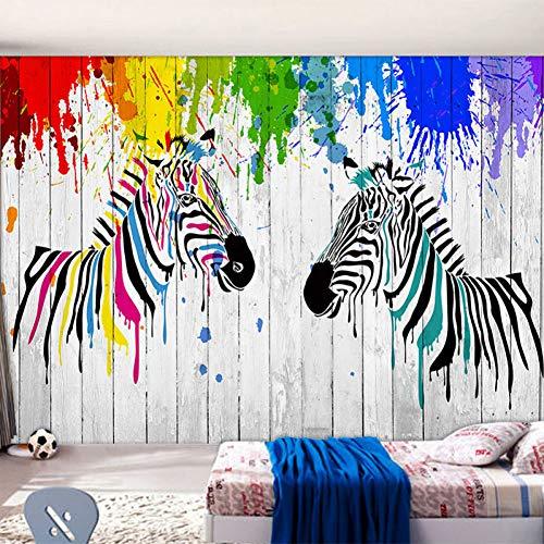 FLYYL Bunte Zebra Graffiti Tapete Kinderzimmer Wohnzimmer Moderne Persönlichkeit Innendekoration 3D Wallpaper Home Decoration Twill-zebra-print