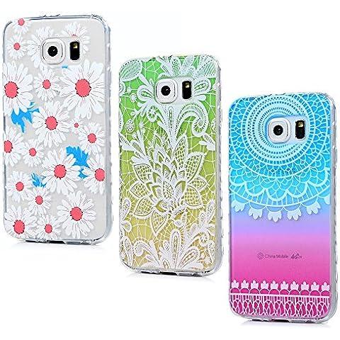 Funda Galaxy S6, Lanveni 3 pcs Carcasa TPU Gel Silicona para Samsung Galaxy S6 (no para S6 Edge) Suave Flexible ultra delgado Protective Case Cover - Diseño Margarita + Gradiente Flores + Campanula Gradiente