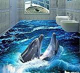 Malilove 3D-Pvc Bodenbeläge Benutzerdefinierte Boden Wand Papier Dolphin 3D Badezimmer Bodenbeläge Wandbild Fototapete Für Wände 3D200X140CM