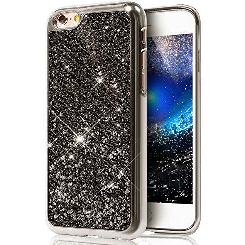 Cover iPhone 6S Plus,Cover iPhone 6 Plus, Custodia Cover Case per iPhone 6 Plus / 6S Plus,ikasus® Cristallo di lusso di Bling di scintillio lucido diamante scintilla iPhone 6S Plus / 6 Plus Case Custo Nero