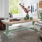 FineBuy Couchtisch YEMA 115x55x42 cm Vintage Sofatisch Holz massiv | Design Loungetisch Abstelltisch Wohnzimmer modern | Orient Wohnzimmertisch Echtholz Shabby-Chic | Designer Holztisch niedrig
