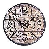 Winnian Horloge Murale Silencieuse en Bois - 30CM Horloge Pendule Murale Style Vintage pour Salon, Chambre à Coucher, Bureau (Noir)