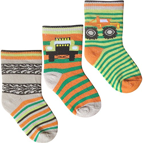 Baby Boys Super Soft Cotton Rich Trucks & Stripes Socks (3 Pair Multi Pack) (UK Infant 0-2.5 (EUR 15-18), Trucks & Trailers)