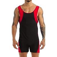 iiniim Men Sleeveless One-Piece Bodysuit Fitness Bodybuilding Stretch Wrestling Singlet